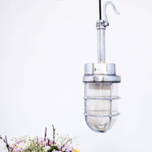 Chrome-plated Portable lamp with ribbed glass anciellitude