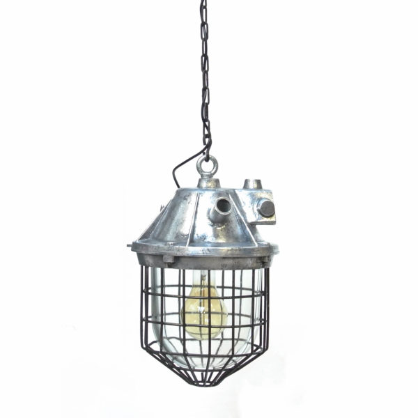 suspension indust chimi globe grillagée anciellitude