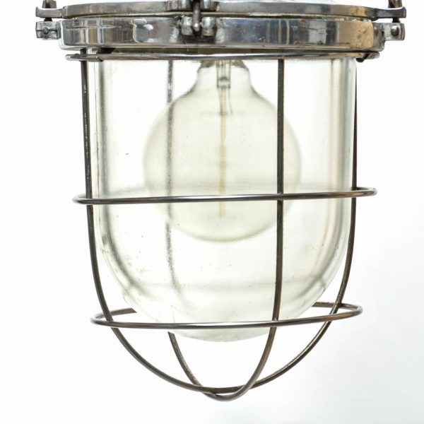 suspension globe en verre grillagé anciellitude