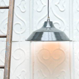 "Enamelled flat ceiling light ""blue-grey"" Anciellitude"