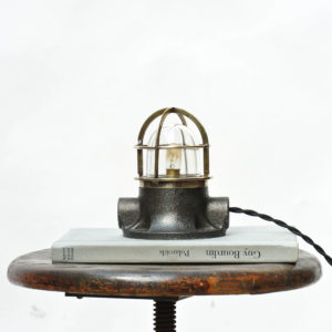 Small Signal Lamp in Brass and Patinated Cast Iron anciellitude