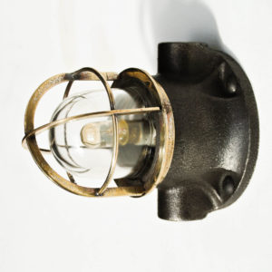 Small Signal Lamp in Brass and Patinated Cast Iron (wall light) anciellitude