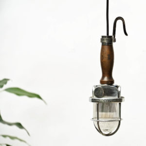 Small Portable Lamp with Corrugated Glass anciellitude