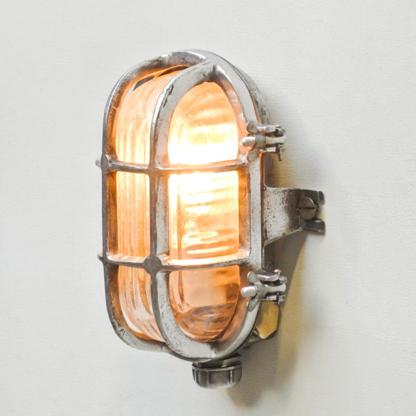 Wall Light in Cast Aluminium, Glass with Wide Stripes anciellitude