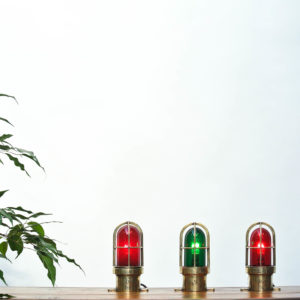 Set of 3 Small Signal Lamp in Brass and Coloured Glass anciellitude