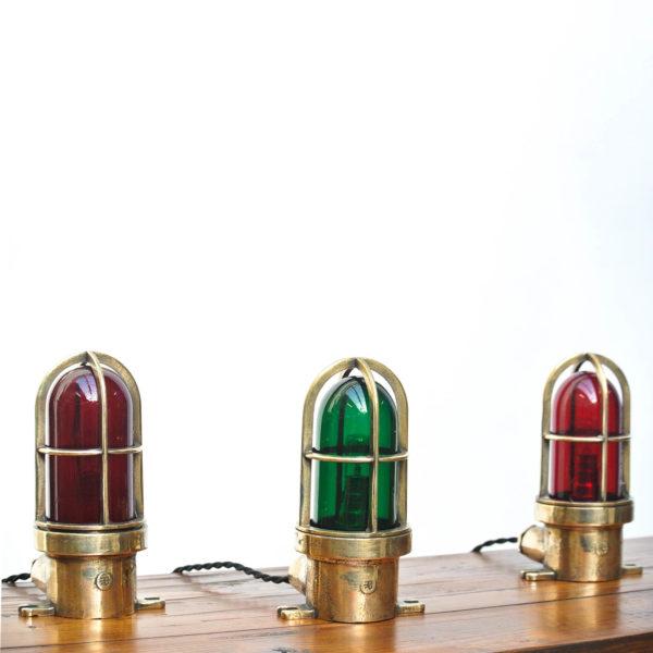 Lot de 3 loupiotes hautes en bronze et verre coloré anciellitude