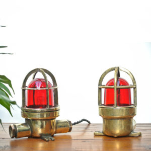 Pair of Small Lamp in Brass with Red Glass anciellitude