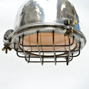 Ceiling Lamp in Cast Aluminium and his Glass Protected by a Grid anciellitude