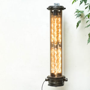 Industrial Fluorescent Light in Patinated Cast Aluminium, with 2 Bulbs  Anciellitude
