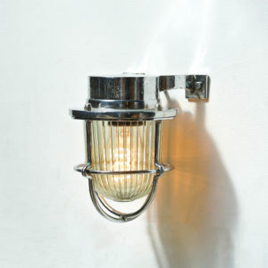 Chromed Plated Brass Wall Light, Glass with Wide Stripes anciellitude