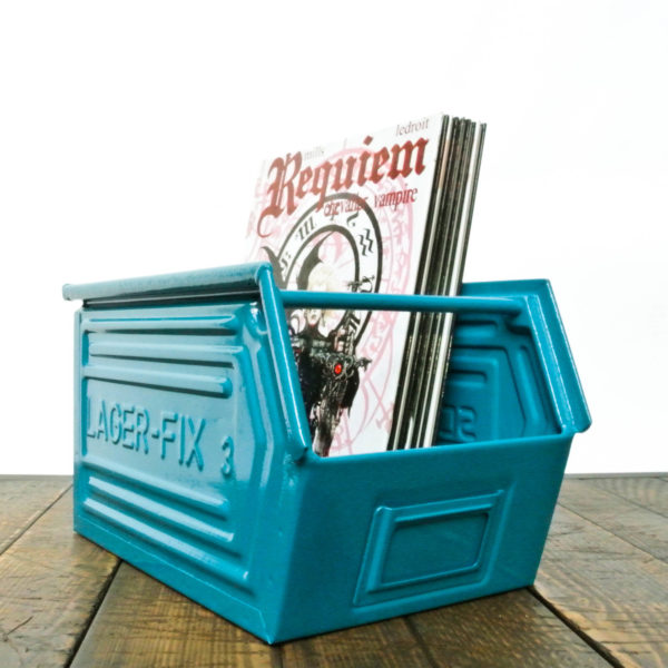 Caisse Schafer turquoise anciellitude