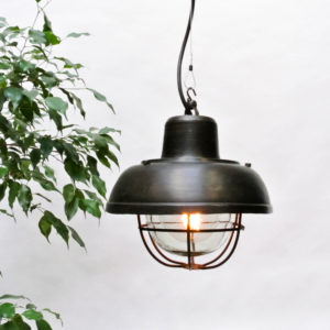 Small Ceiling lamp Made of Patinated Steel with Light Shade. anciellitude