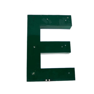 Old Green Letter E of Signboard Made of Zinc anciellitude