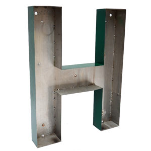 Old Green Letter H of Signboard Made of Zinc anciellitude