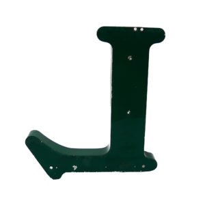 Old Green Letter L of Signboard Made of Zinc anciellitude