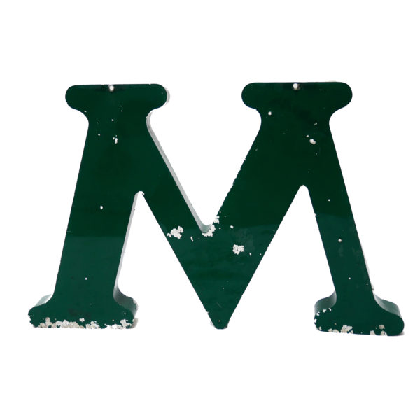 Old Green Letter M of Signboard Made of Zinc  anciellitude