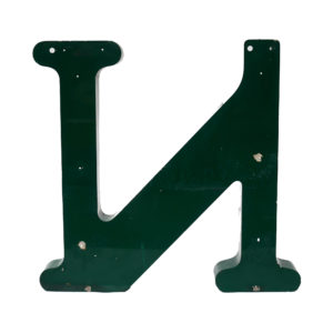 Old Green Letter N of Signboard Made of Zinc  anciellitude