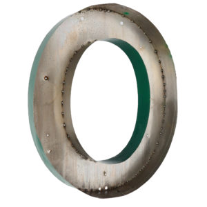 Old Green Letter O of Signboard Made of Zinc anciellitude