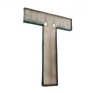Grande lettre T verte en métal vintage anciellitude