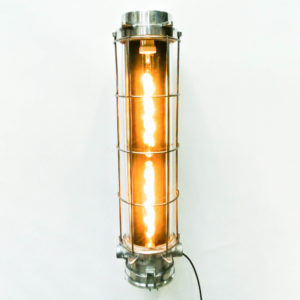 Industrial Fluorescent Light in Cast Aluminium with a Fence (wall light) and Two Bulbs.  anciellitude